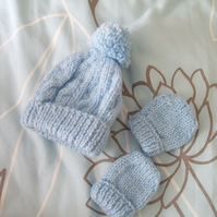 Premature Blue Hat & Mitts Set