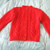 Red Aran Cardigan