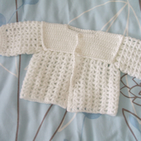 SALE - White Crocheted Matinee