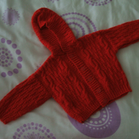 Red Hooded Cardigan