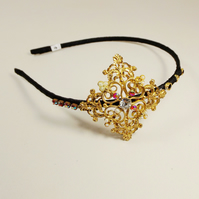 Vintage Jewellery Hairband (Red, Black and Gold)