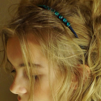 Vintage Jewellery Hairband (Jade, Gold and Navy Blue)