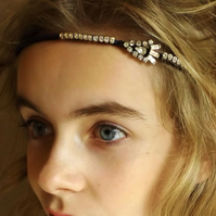 Vintage Jewellery Hairband (Silver Teardrop and Navy Blue)