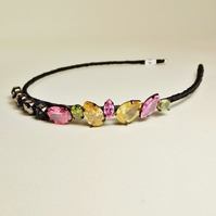 Vintage Jewellery Hairband (Grey, pink, peach-orange and lime green gems)