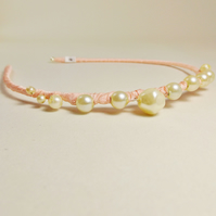Vintage Jewellery Hairband (Pink & Pearl)