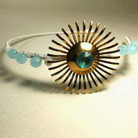 Vintage Jewellery Hairband (Opal Blue & Gold)