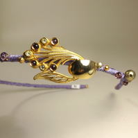 Vintage Jewellery Hairband - Purple and Gold