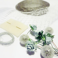 Hatastic! Fascinator Kit in Vintage Floral (Silver Grey & Sky Blue)