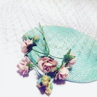 Fascinator Kit - Vintage Floral: Mint Green, Baby Pink, Yellow & Taupe