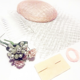 Hatastic! Fascinator Kit in Vintage Floral (Baby Pink & Silver Grey)