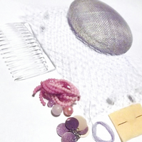 Hatastic! Fascinator Kit - Embellished Vintage (Pink, Lilac and Ivory)