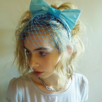 Light Sky Blue Dolly Bow Fascinator Hairband