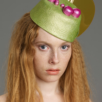 Snapback Headpiece (Green Straw & Pink Oversized Studs)