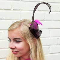 SALE Chocolate Brown Sinamay and Hot Pink Feather Fascinator