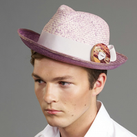 Mens Purple Fair Trade Panama Hat with Upcycled Skateboard Buckle
