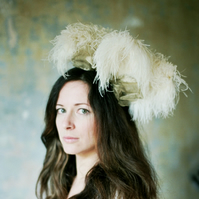 Debutant Headpiece (Ostrich feather & Gold)