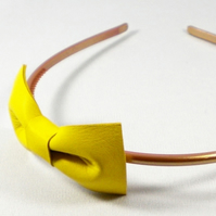 Yellow Leather Bow Hairband - end of line
