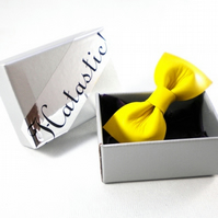 Yellow Upcycled Leather Bow Hairclip - LAST ONE!