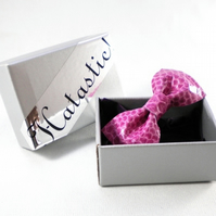 Pink Leather Bow Hairclip