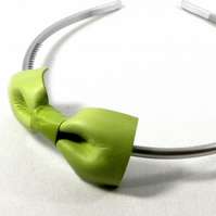 Green Leather Bow Hairband - end of line