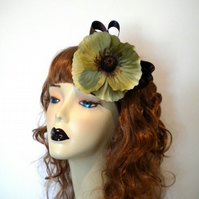 CUSTOM Green Poppy Fascinator