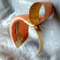 Sculptural Salmon & Gold Hairband