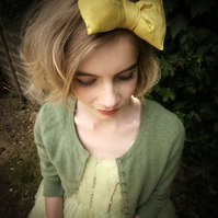 Silk Yellow Bow Headband