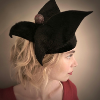 Upcycled Black Felt Fascinator with Glittery Bronze Bauble (Sale - 25% off)
