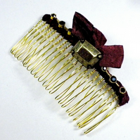 Vintage Jewellery Comb in Claret and Bronze