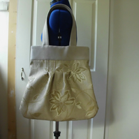 Tote bag  Hand bag with gold flowers with light fawn faux suede handles