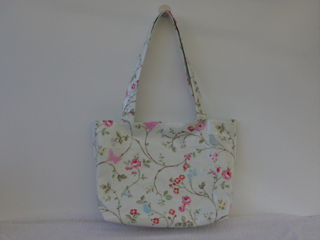 BIRDS AND BUTTERFLIES WITH TRAILING FLOWERS  PVC FABRIC TOTE BAG
