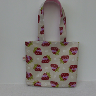 Little Girls Mini oil cloth Strawberry Tote Bag