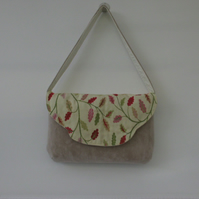 Faux suede hand bag shoulder bag with trailing leaf embroidery