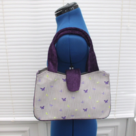 Hand bag Shoulder Bag in Purple and Grey with  butterflies and stripes