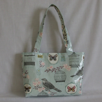 Tote bag shoulder bag in duck egg blue with birds butterflies flowers