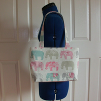 Tote Bag with Elephants and flowers in cream and pastel colours