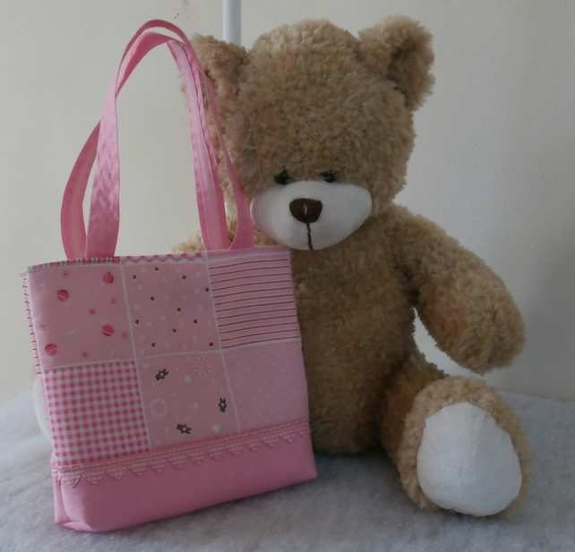 Little Girl Pink Patchwork Design Cotton Tote Bag With Gingham Hearts
