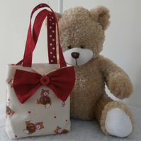 Little Girls Cream Tote Bag With Teddy  Bears Bows Hearts Stars Button Bow