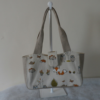 Shoulder Bag Hand Bag in woodland friends Cotton Fabric with Hessian Handles