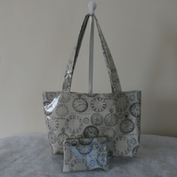 Grey shoulder bag in vintage clock pvc fabric with matching zip purse