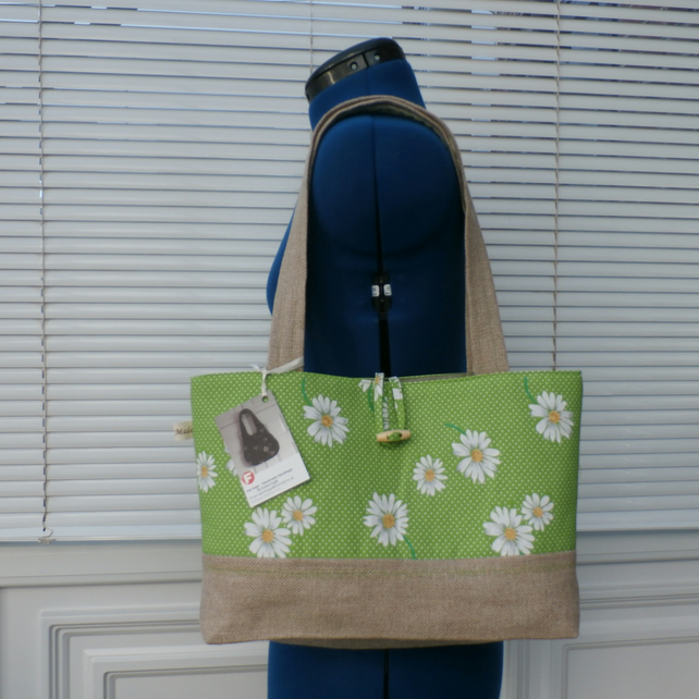 Apple Green Polka Dot Daisy Tote Bag, Shoulder, Handbag, Mothers Day