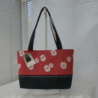 Red White Polka Dot Daisy Tote Bag With Denim Handles And Base