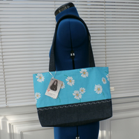 Turquoise Blue Polka Dot Daisy Tote Bag With Denim Handles and Base