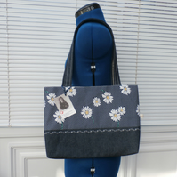Navy Blue Polka Dot Daisy Tote Bag With Denim Handles And Base