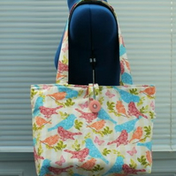 TOTE BAG SHOULDER BAG   WITH BIRDS  BUTTERFLIES FLOWERS