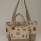 MUMMY AND LITTLE ME MATCHING TOTE BAGS IN WOODLAND FRIENDS WITH HESSIAN HANDLES