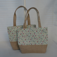 Little Girl Flowers And Hessian Tote Bag