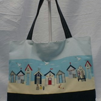 Large Tote Shoulder Bag  Beach Bag With Beach Huts In Cotton And Denim