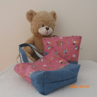 Little Girl's Peter Rabbit Mini Tote Bag,Toy Bag, in cotton and denim fabric