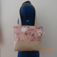 Tote Bag, Hand Bag, shoulder bag in pink cotton with  Hessian Fabric.